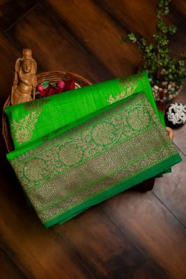 Leaf Green Zari woven Banarasi Tussar Saree-PG1075