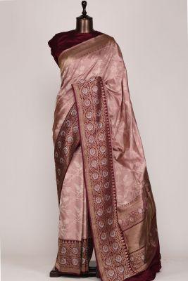 Dust Pink Zari woven Banarasi Silk Saree-PG1076
