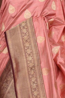 Old Rose Pink Zari woven Banarasi Silk Saree-PG1099