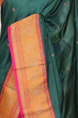 Bottle Green Zari woven Banarasi Silk Saree-PG1103