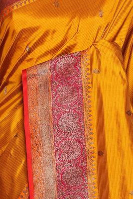 Mustard Yellow Zari woven Banarasi Silk Saree-PG1104