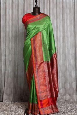 Leaf Green Zari woven Banarasi Silk Saree-PG1108
