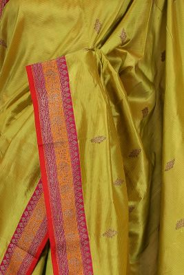 Pistachio Green Zari woven Banarasi Silk Saree-PG1113