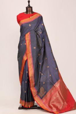 Indigo Blue Zari woven Banarasi Silk Saree-PG1115
