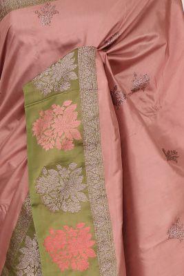 Old Rose Pink Zari woven Banarasi Silk Saree-PG1116
