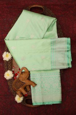 Mint Green Zari Woven Banarasi Silk Saree-PG1117