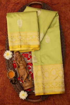 Pistachio Green Zari woven Banarasi Silk Saree-PG1120