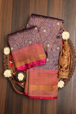 Indigo Blue Zari woven Banarasi Silk Saree-PG1122