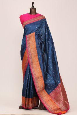 Peacock Blue Zari woven Banarasi Silk Saree-PG1126