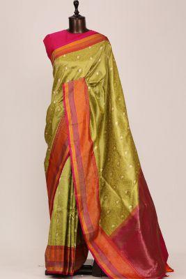 Pistachio Green Zari woven Banarasi Silk Saree-PG1127