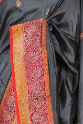 Lead Grey Zari woven Banarasi Silk Saree-PG1128