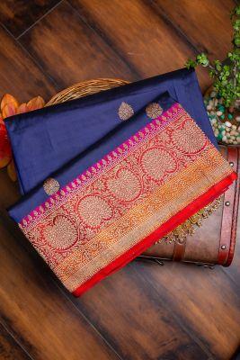 Indigo Blue Zari woven Banarasi Silk Saree-PG1130