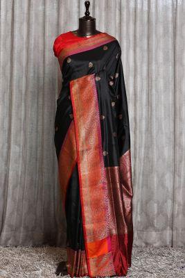 Black Zari woven Banarasi Silk Saree-PG1131
