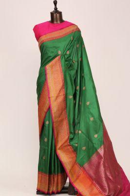 Emerald Green Zari woven Banarasi Silk Saree-PG1134