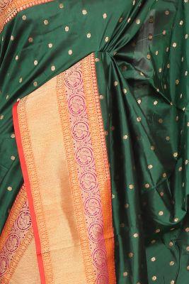 Bottle Green Zari woven Banarasi Silk Saree-PG1138