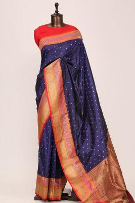 Indigo Blue Zari woven Banarasi Silk Saree-PG1139