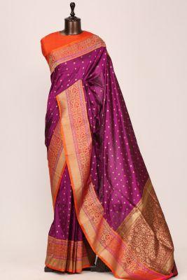 Mulberry Pink  Zari woven Banarasi Silk Saree-PG1141