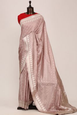 Dust Pink Zari woven Banarasi Silk Saree-PG1153