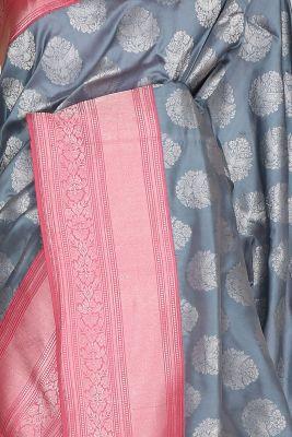 Slate Blue Zari woven Banarasi Silk Saree-PG1154