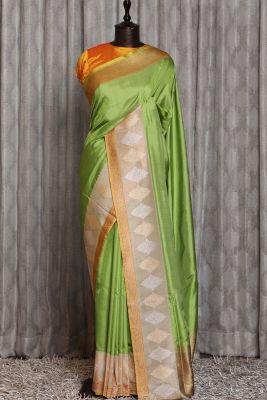 Pear Green Zari woven Banarasi Silk Saree-PG1179