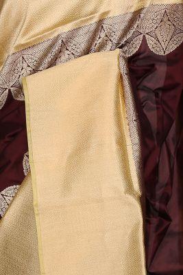 Chestnut Brown Zari woven Banarasi Silk Saree-PG1191