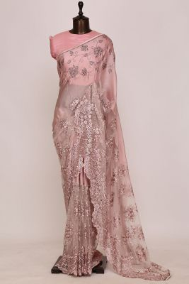 Dusty Pink Resham Embroidered Satin Saree-PG1337