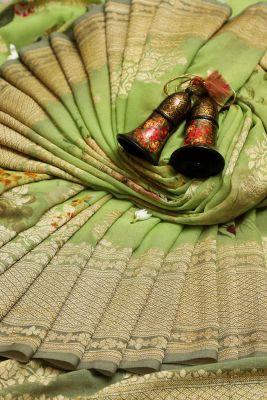 Pistachio Green Zari Woven Banarasi Georgette Saree-PG1359