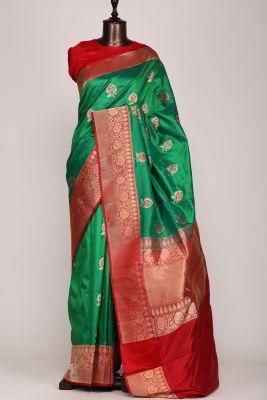 Emerald Green Zari woven Banarasi Silk Saree-PG1445