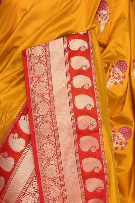 Mustard Yellow Zari woven Banarasi Silk Saree-PG1447