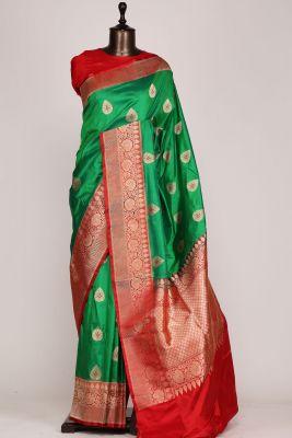 Emerald Green Zari woven Banarasi Silk Saree-PG1448
