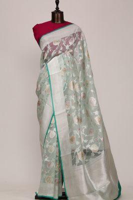 Mint Green Zari Woven Banarasi Organza Saree-PG1479