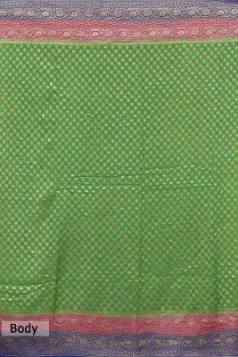 Leaf Green Zari woven Banarasi Georgette Saree-PG5116