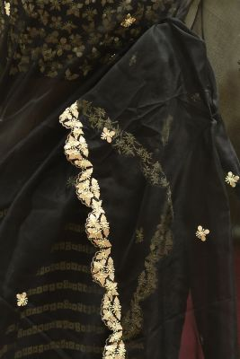 Black Sequins Embroidered Organza & Tussar Silk Saree-PH1060
