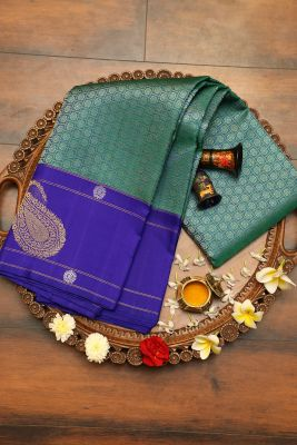 Green & Blue Dual Tone Zari Woven Kanchipuram Silk Saree-PH2933