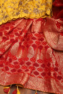 Chilli Red Zari Woven Georgette Saree-PH4090