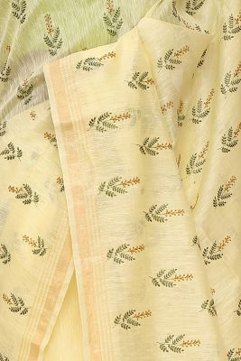 Light Yellow Resham Embroidered Linen Saree-PI1029