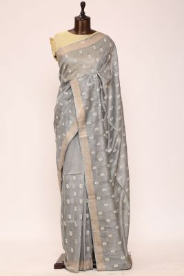 Ash Grey Resham Embroidered Linen Saree-PI1030