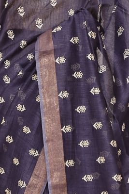 Navy Blue Resham Embroidered Linen Saree-PI1031