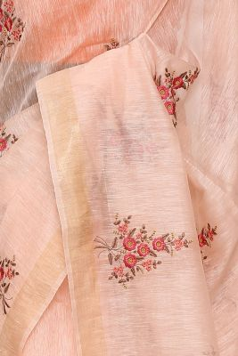 Peach Resham Embroidered Linen Saree-PI1033