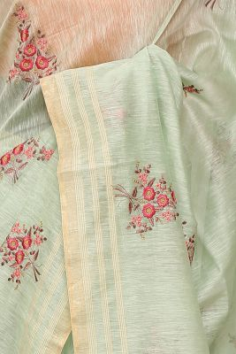 Light Green Resham Embroidered Linen Saree-PI1034