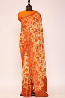 Shaded Orange & Off White Printed Tussar Silk Saree-PI1036