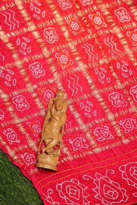 Bright Pink Zari woven Bandhani Saree-PI1081