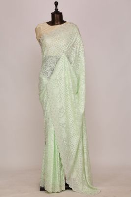 Light Green Resham Embroidered Georgette Saree-PI1764