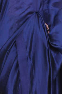 Royal Blue Thread Embroidered Tussar Silk Saree-PI2005