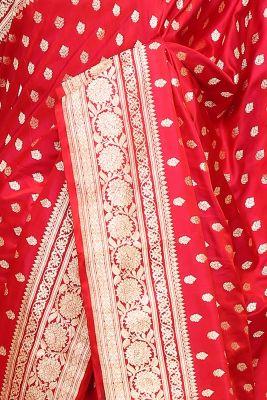Bright Red Zari Woven Banarasi Silk Saree-PI2227