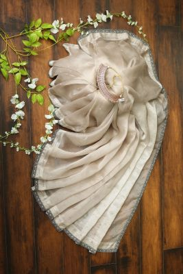 Taupe Grey Stone  Pure Designer Embroidered Saree-PI2320