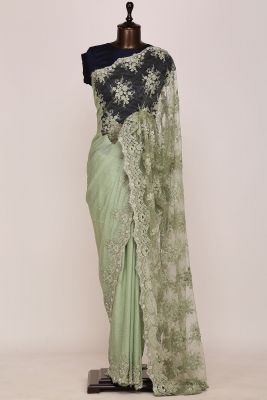 Sage Green Bead Embroidered Chantilly Saree-PI2602