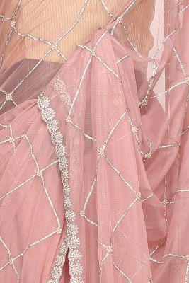 Salmon Pink Stone Embroidered Net Saree-PI2607
