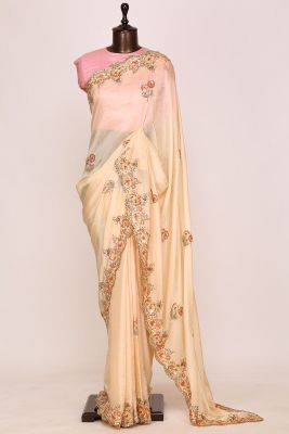Peach Puff Sequins Embroidered Silk Saree-PI2619