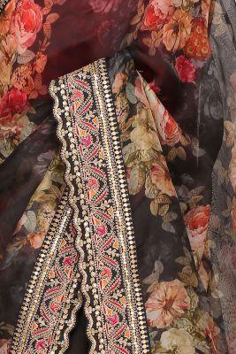 Black Sequins Embroidered Organza Saree-PI2763